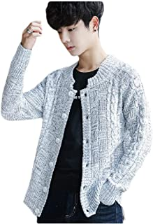neveraway Mens Button Down Regular Fit Skinny Cable Knit Knitwear Cardigan
