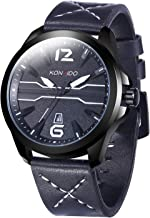 Men's Wrist Watch Fashion Casual Leather Band Dress Analog Quartz Outdoor Unique Waterproof Classic Big Face Watches Calendar Date Week Window Watch for Men