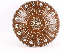 Meditatie Kussens Marokkaanse Kunstleer Poef Craft Mandala Borduurwerk Ottomaanse Voetbank Rond Ongevuld Kussen (Kleur: Ko...