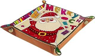 ATOMO Plateau de rangement en cuir avec joli motif de Père Noël - Pour ranger des bijoux, des articles divers, des objets ...