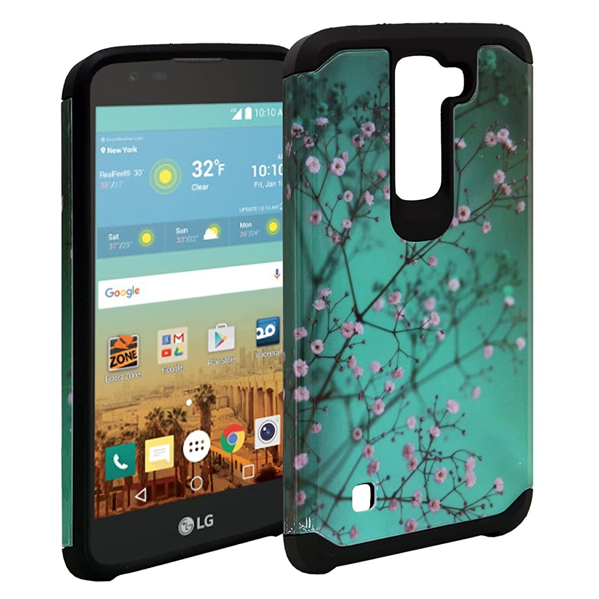 LG K7 Case,LG Tribute 5 Case, LG M1, Customerfirst [Shock Absorption / Impact Resistant] Hybrid Dual Layer Armor Defender Protective Case Cover for LG K7 (Blossom Teal)