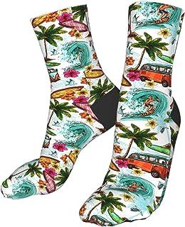 Tropical Palm Leaves Macaw Parrots Hibiscus Mens Dress Socks Fun Crew Socks 15.7