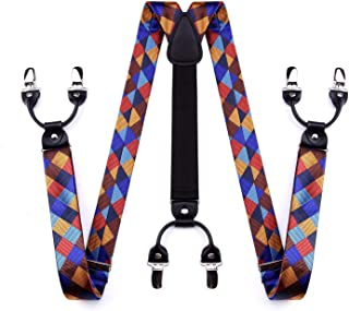 Check Dot Suspenders for Men Tuxedo Suspenders Mens Trouser Braces Y-Back with Strong Clips