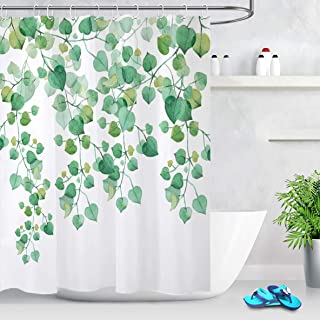 LB Watercolor Fresh Blue Green Leaves Shower Curtain Round Eucalyptus Leaf Pattern Floral Decorative Plant Shower Curtains for Spring Decor 72x72 Inch Polyester Fabric with 12 Hooks,White