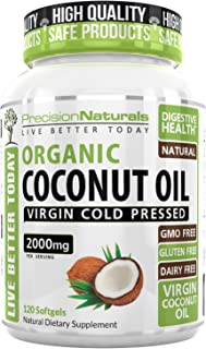Precision Naturals Organic Coconut Oil Capsules 2000mg 120 Count