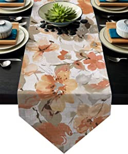 HELLOWINK 90Inch Burlap Table Runners for Dinning Room, Watercolor Florals, Cotton Linens Table Runner Table Cloth for Wedding Party Holiday Home Decor(Spring Flower)