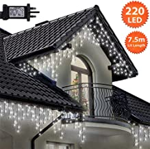 Icicle Lights 220 LED 7.5m Bright/Cool White Outdoor Christmas Lights Indoor String Fairy Lights Timer Memory Mains Powered 24ft Lit Length 10m/32ft Lead Wire Green Cable