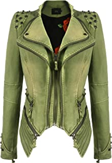 Women's Fashion Studded Perfectly Shaping Faux Leather Biker Jacket