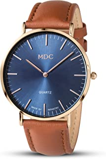 MDC Mens Brown Leather Watch Minimalist Ultra Thin Wrist Watches for Men Dress Formal Casual Genuine Leather Band