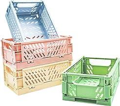 POTTIIS 4-Pack Mini Baskets Plastic for Shelf Home Kitchen Storage Bin Organizer, Stacking Folding Storage Baskets for Cla...