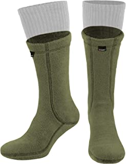 281Z Military Warm 8 inch Boot Liner Socks - Outdoor Tactical Hiking Sport - Polartec Fleece Winter Socks (Green Khaki)