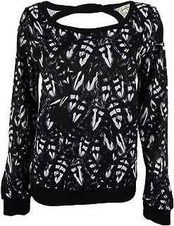Juniors' Printed Twist-Detail Sweatshirt Feather Size Large