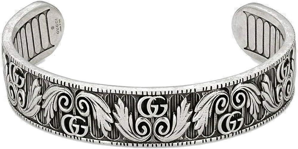 Gucci marmont bracciale con doppia g e foglie YBA551907001017