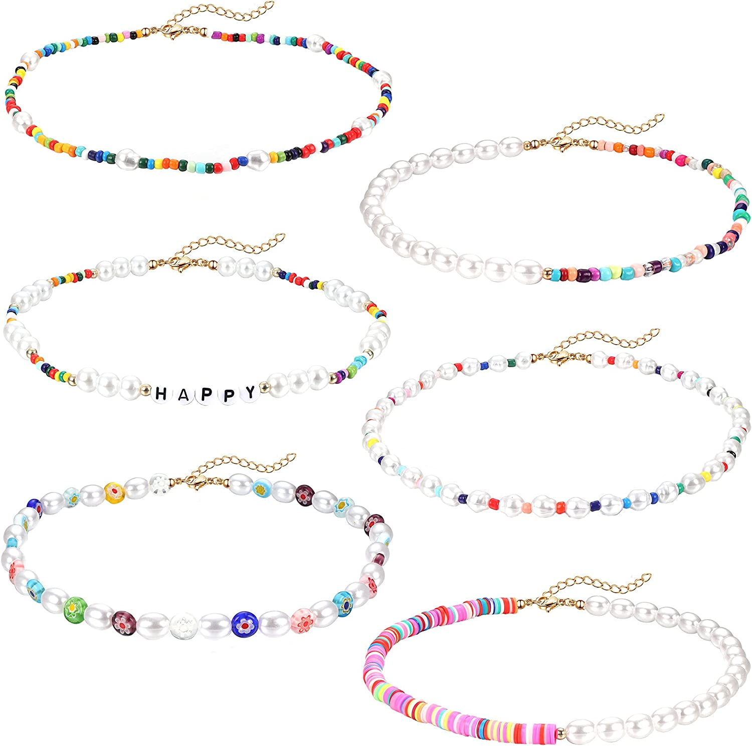 BESTEEL 6 PCS Seed Bead Choker Necklace for Women Colorful Bohemian Beaded Necklace Adjustable Tiny Beaded Pearl Choker Necklace Set