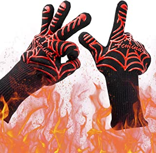"Acmind BBQ Grilling Gloves 1472�F Heat Resistant Grill Gloves, Barbeque/Barbecue Gloves for Smoker, 13"" Extreme Kitchen Cooking Oven Mitts Silicone Non-Slip Cooking Hot Glove for Welding Baking 1 Pair"