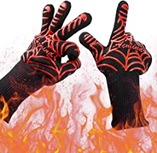 "Acmind BBQ Grilling Gloves 1472°F Heat Resistant Grill Gloves, Barbeque/Barbecue Gloves for Smoker, 13"" Extreme Kitchen Cooking Oven Mitts Silicone Non-Slip Cooking Hot Glove for Welding Baking 1 Pair"