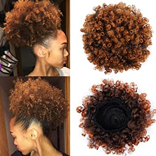 Afro Ponytail Drawstring African American Curly Ponytail Hair Extensions Synthetic Kanekalon Puff Ponytail Hair Piece for Black Women(#T30)