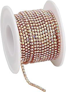 Glass Rose Gold Crystal AB Rhinestones Cup Chain Trim Roll DIY Gems for Jewelry Crafts Sew On Trim 10yards SS6/2mm PEESOM...