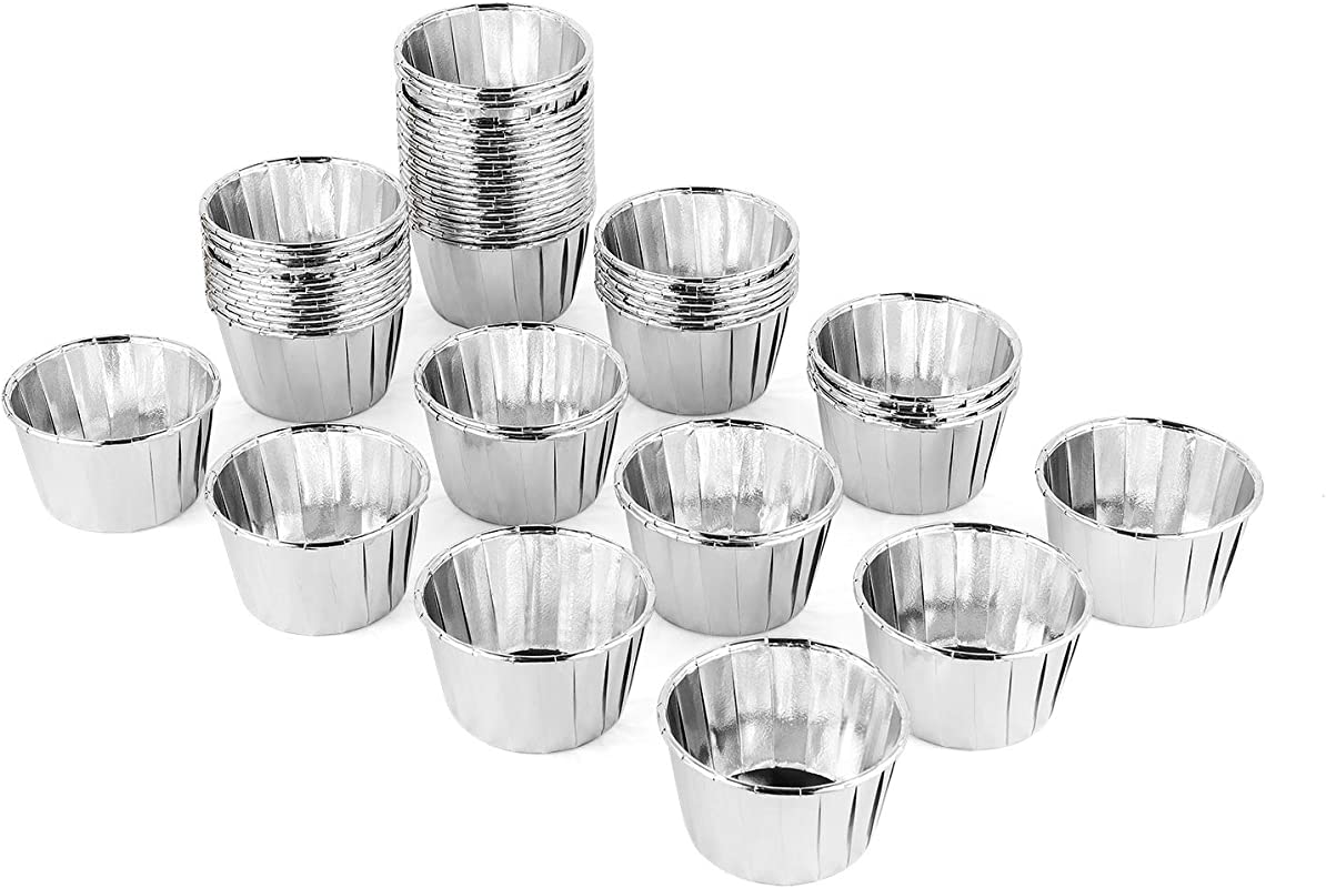 Silver Aluminum Foil Paper Mini Cake Baking Cups 100 Pack HOMARTY Muffin Cupcake Baking Mold Cup Liners Baking Cups 2 5 Inches For Party Wedding Festival