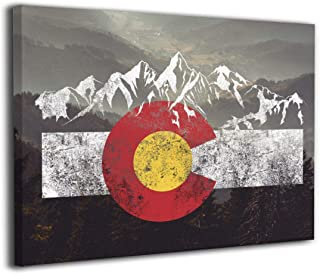 Arnold Glenn Colorado Flag Moutain Vintage Colorado Day Canvas Wall Art Prints Photo Modern Paintings Decorative Giclee Artwork Wall Decor Wood Frame Gallery Stretched (24