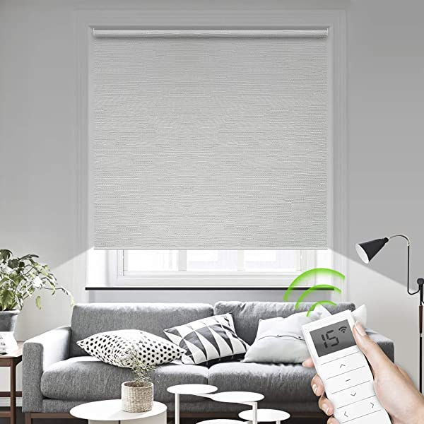 Luckome Motorized Window Roller Shades Blinds Remote Control Wireless And Rechargeable Blackout Fabric Shades For Home And Office Customized Size Jacquard White