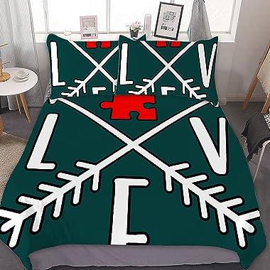 Autism Awareness, Love, Puzzle Piece, Arrows Lightweight Comforter Metal Zipper Hidden Design Not Easy Pillinghigh Color Fast