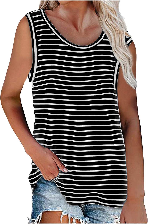 Sayhi Womens Casual Loose Vest T-Shirt Tops V Neck Tank Tops Sleeveless Tunic Shirts Summer Striped Tees