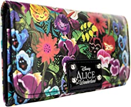 Alice In Wonderland Floral Coin and Card Tri-Fold Purse Green