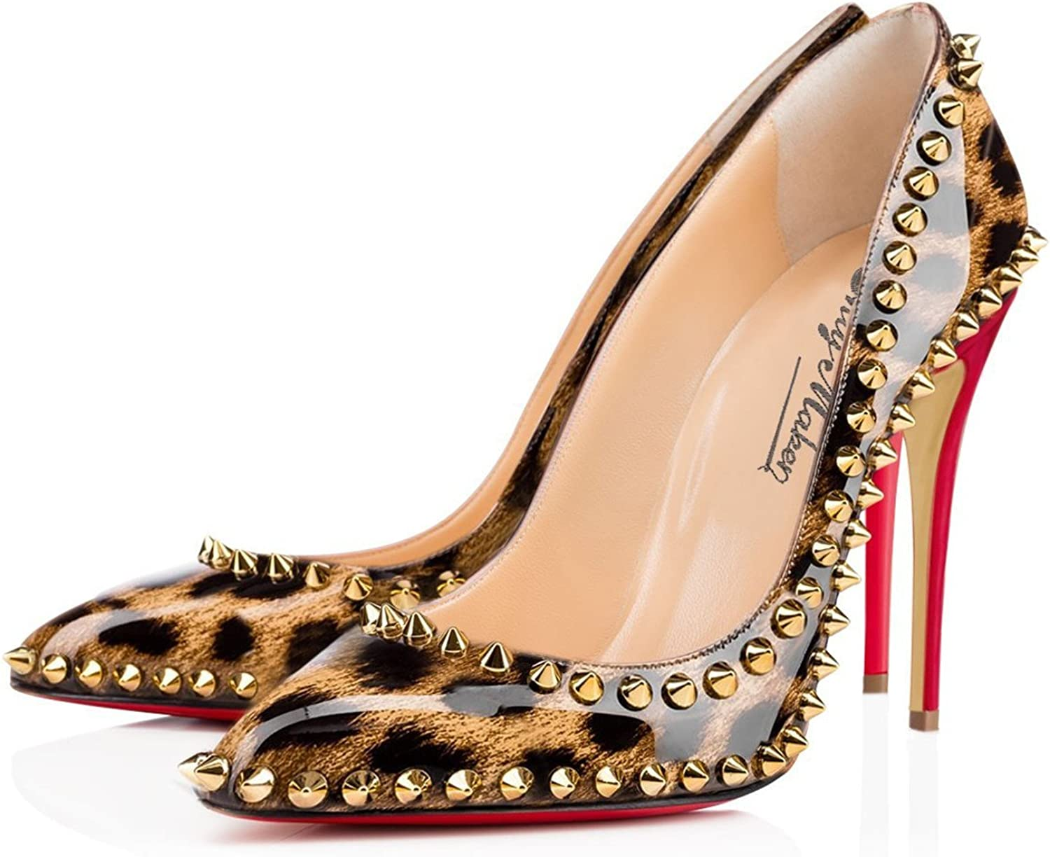 Laolaooo shoes Women's Pointed Toe High Heel with gold Rivet Decoration Leopard Print Dress Pumps