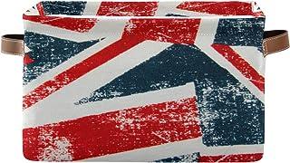 QMIN 1 lot de paniers de rangement pliables - Motif drapeau britannique - Vintage - Pour ranger des jouets, des vêtements,...