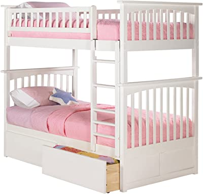 Columbia Bunk Bed with 2 Flat Panel Bed Drawers, Twin Over Twin, White