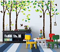 MAFENT Giant Family Tree Wall Decals Forest Birch Tree Wall Stickers Birds Wall Art for Kids Room Nursery Bedroom Living Room Decoration(Dark Brown and Green)