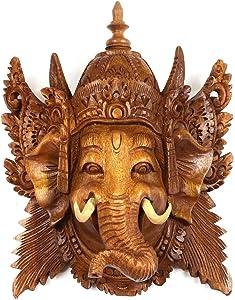 Oriental Galerie Ganesha Maske Wandbild Skulptur Bali Mythologie Gute Geister Deko Soar Holz ca. 20cm