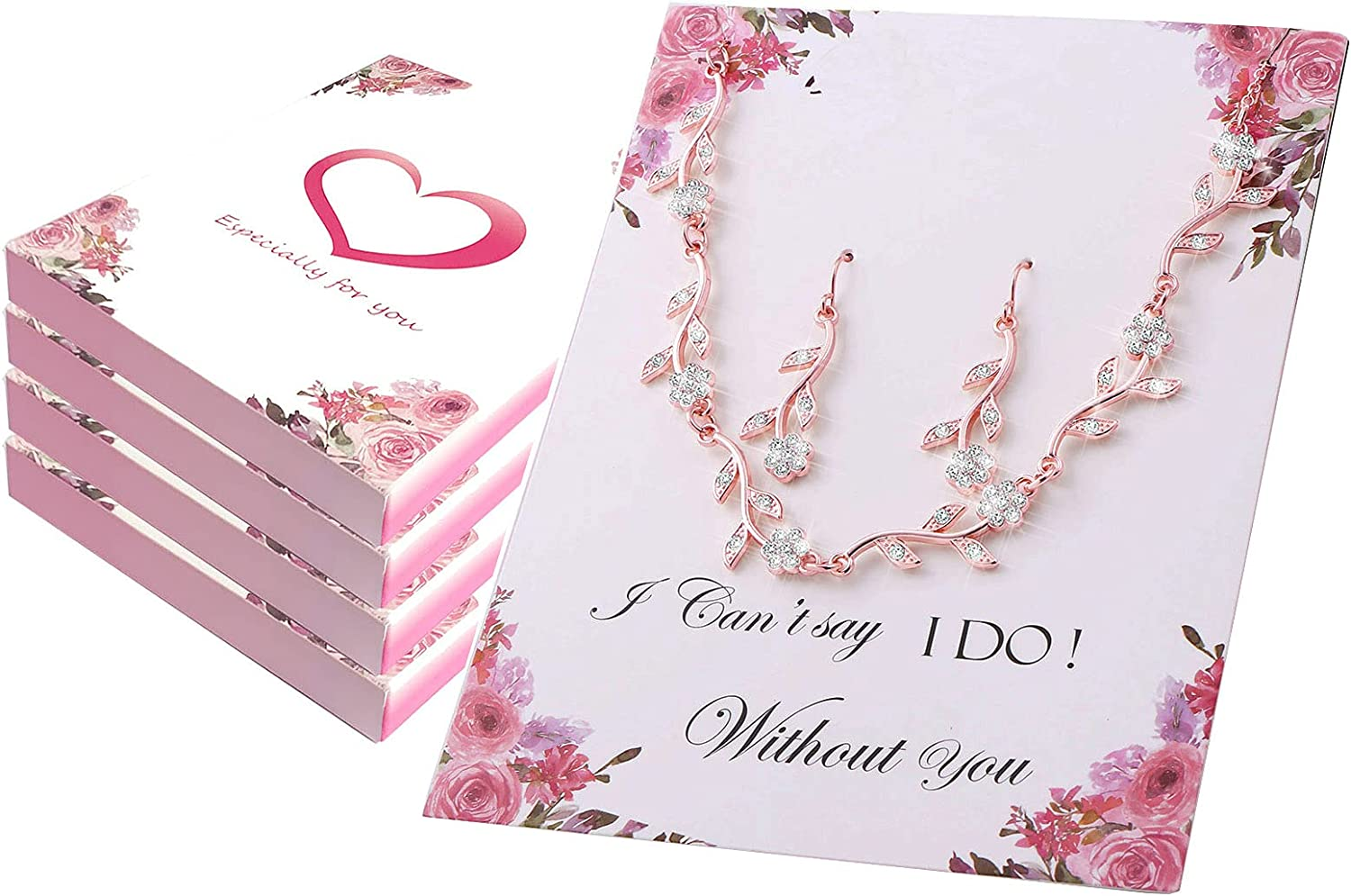 Bridesmaid Gift Jewelry Sets of 1 4 6 7 8 for Wedding,Pave Crystal Simulated Diamond Leaf Flower Jewelry Set for Bridesmaid