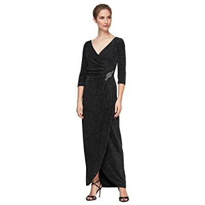 Alex Evenings Long Surplice Neckline Metallic Knit Dress with Tulip Wrap Skirt