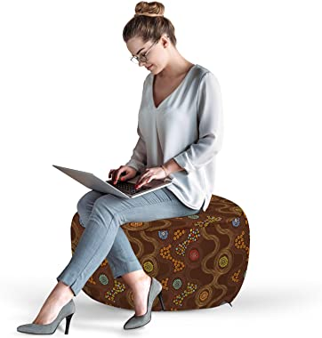 Ambesonne Abstract Ottoman Pouf, Colorful Dots and Flowers Curved Doodle Style Line Art Design on Brown Background, Decorativ