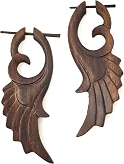 UMBRELLALABORATORY Tribal Organics Earrings Wooden Tropical Feathered Bird Style Fake Gauges