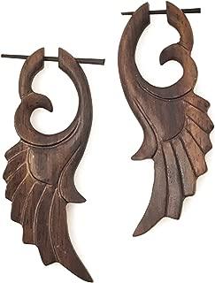 UMBRELLALABORATORY Tribal Organics Earrings Wooden Tropical Feathered Bird Style Fake Gauges