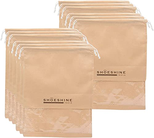 INDIA Beige Shoe Bags With Transparent Window Set Of 12