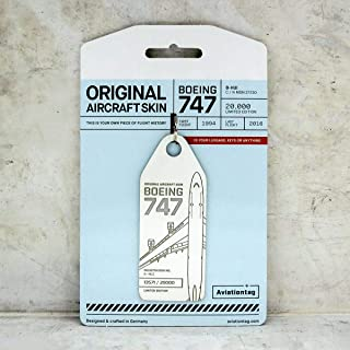 AVT017 AviationTag Boeing 747 (Cathay Pacific) White Original Aircraft Skin Keychain/Luggage Tag/Etc with Lost & Found Feature