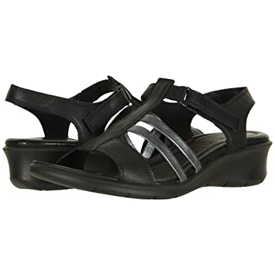 ECCO Felicia Ankle Sandal (Black/Black Cow Leather) Women