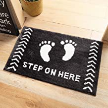 "ESUPPORT Bath Mats Rug Footprint ""Step on"" Here Entrance Mat Welcome Outdoor Indoor Non Slip/19.6 x 31.4"