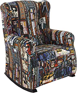 HOGAR TAPIZADO Sillón Relax, Orejero BALSA (Especial para Lactancia) tapizado en Tela Estampada New York Pop Color 100 x 72 x 74
