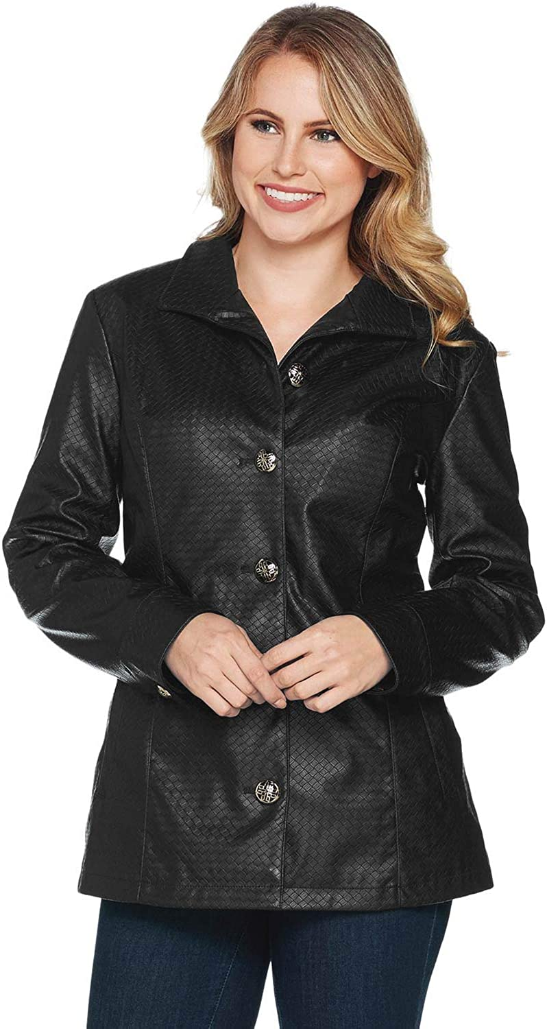 Dennis Basso Womens Basket Weave Faux Leather Jacket Small Black A294631