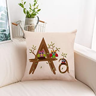 JR Fashion English Alphabet Linen Hug Pillowcase Car Sofa Pillow Cushion Cover Models Linen Pillows Sofa Bedroom Pillow Case Creative English Letters Home Decor European Style Cute Pillowcase (A)