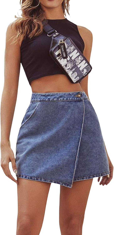 ZHYA Women Denim A Line Mini Skirt High Waist Ruffle Cute Print Jeans Skirt Casual Summer Y2k Bodycon Skirt (G-Blue, Large)