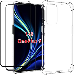 EasyLifeGo for OnePlus 9 Case with Tempered Glass (2 Pieces) Slim Shock Absorption TPU Soft Edge Bumper with Reinforced Co...