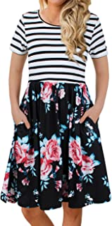 Women's Short Sleeve Patchwok Floral Dress Dresses with Pockets