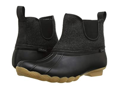 SKECHERS Mid Herringbone Chelsea Boot (Black/Charcoal) Women