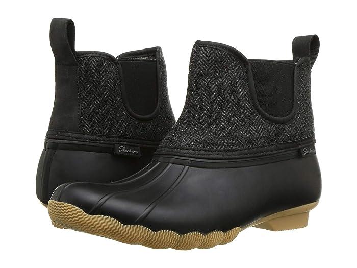 SKECHERS  Mid Herringbone Chelsea Boot (Black/Charcoal) Womens Shoes